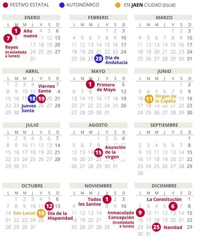 Calendario laboral de Jaén del 2019 (con todos los festivos)