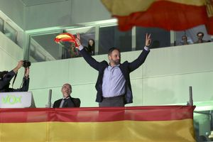 MADRID 30-04-2021 POLITICA   fotografía de archivo , sede de VOX noche electoral  en la imagen Santiago Abascal . Imagen DAVID CASTRO