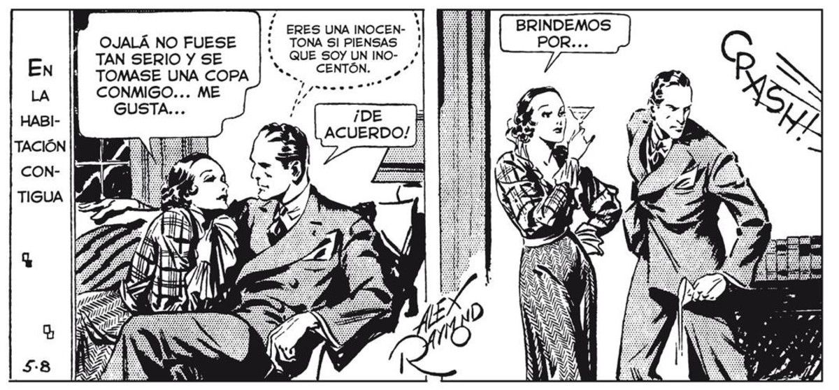 Viñeta de las tiraspara prensa de la serie 'Agente Secreto X9', con guion de Dashiell Hammett y dibujo de Alex Raymond, publicada en mayo de 1934.