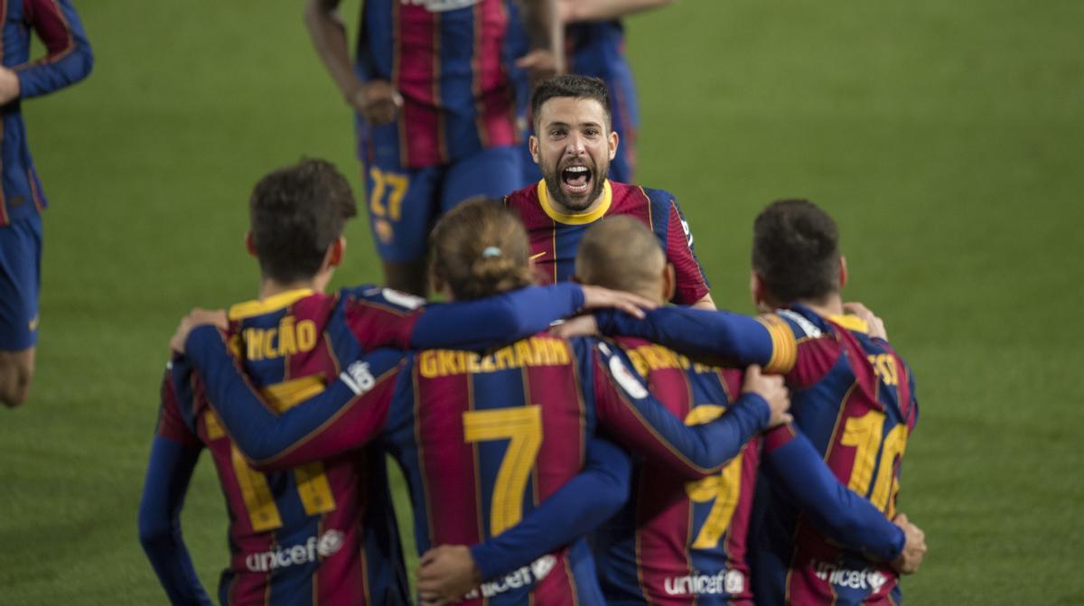 Celebración en el partido de Copa del Rey entre el Barça y el Sevilla.