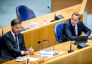 The Hague (Netherlands), 12/08/2020.- Prime Minister Mark Rutte (L) and Hugo de Jonge, Minister of Health, Welfare and Sport, during a plenary debate about the coronavirus pandemic situation, in The Hague, The Netherlands, 12 August 2020. (Países Bajos; Holanda, La Haya) EFE/EPA/REMKO DE WAAL