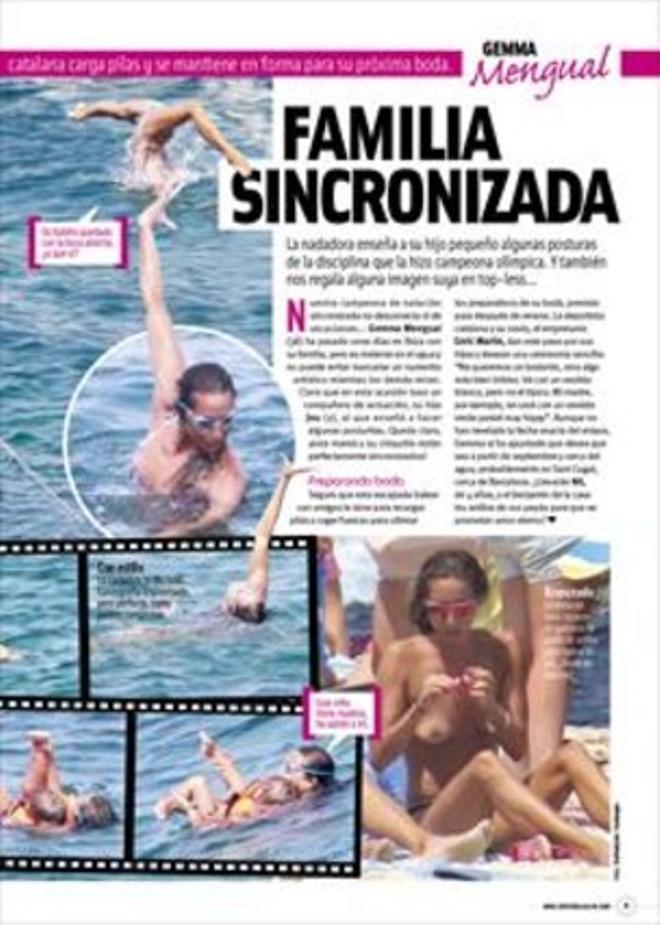 Gemma Mengual hace natación sincronizada en el mar con su hijo
