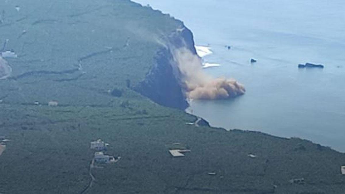 Desprendimiento en la costa de Tazacorte, al oeste de La Palma.