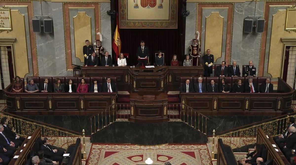 El rey Felipe, durante la sesión solemne de apertura de la XII Legislatura, el pasado noviembre.