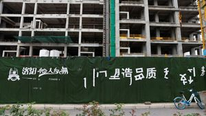 El complejo de edificios Evergrande Oasis en Luoyang, una de las cientos de obras sin finalizar de la compañía en problemas