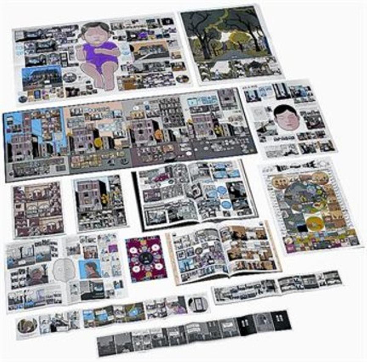 Arriba, todos los tebeos, de distintos formatos, con los que Chris Ware construye 'Fabricar historias'. En la silueta, la caja, y abajo, una página.
