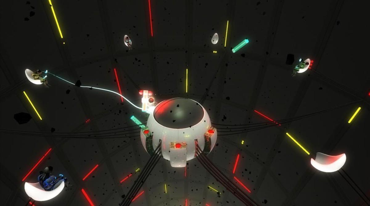 Aquí es donde creen que están losjugadores de Lostroom en un momento desu escapismoespacial: todo elequipo en formato 'cyborg' sobreun reactor.