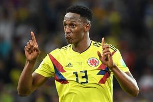 Yerry Mina en un partido del Mundial con la selección de Colombia
