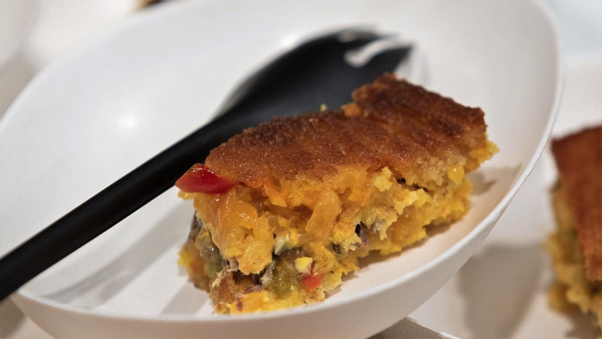 La empanada de Javier Olleros, hecha con harina de maíz y de centeno.