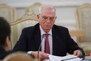 El jefe de la diplomacia europea, Josep Borell, durante su reunión con el titular de Exteriores ruso, Serguéi Lavrov.