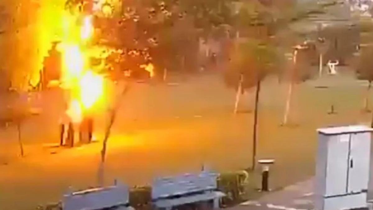 Imágenes del momento en que el rayo impacta en el árbol en que los hombres se refugiaban.