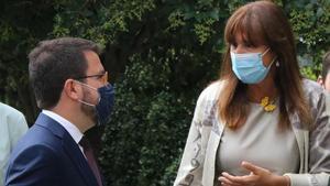 Pere Aragonès  y Laura Borràs a las puertas del Tribunal Supremo.