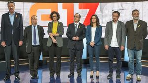 Debate electoral al Parlament de Catalunya en TV-3,con los candidatos de las formaciones políticas, el pasado18 de diciembre.