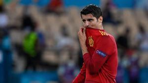 Morata, desesperado durante el partido de España contra Suecia.