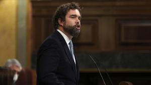 El portavoz de Vox en el Congreso, Iván Espinosa de los Monteros, defendiendo la porposición de ley para ilegalizar los partidos independentistas