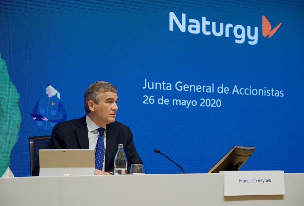 El presidente de Naturgy, Francisco Reynés, durante la junta de accionistas telemática de la compañía, celebrada en Madrid.