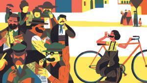 Alfonsina Strava, en las ilustraciones de Joan Negrescolor, corrió el Giro en 1924 al burlar a los organizadores e inscribirse como hombre.