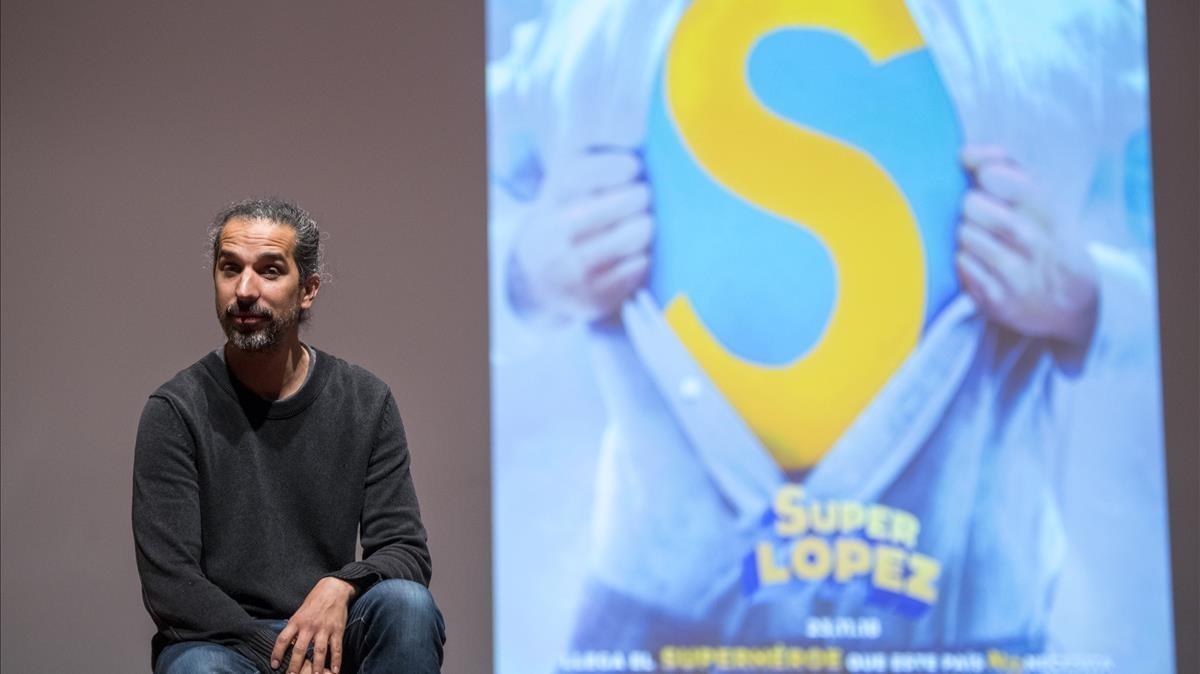 El cineastaJavier Ruiz Caldera, este sábado, en la presentación de 'Superlópez' en el Salón del Cómic.