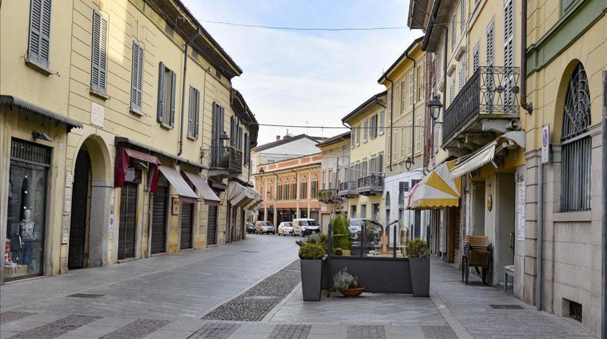 Calles desiertas en Codogno, en el norte de Italia, tras la alerta por el coronavirus.