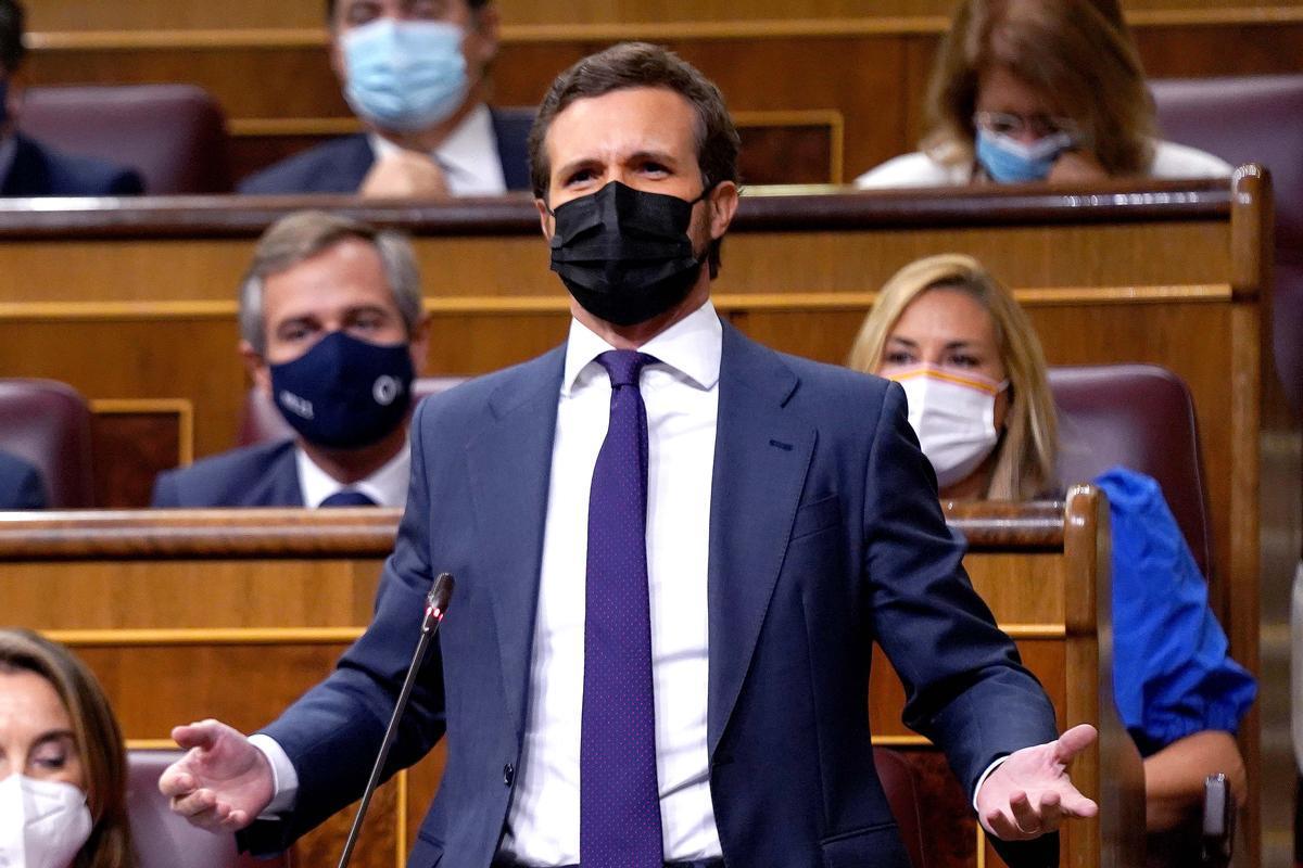 Sesión de control al Gobierno en el Congreso de los Diputados , en la imagen el presidente del PP , Pablo Casado.