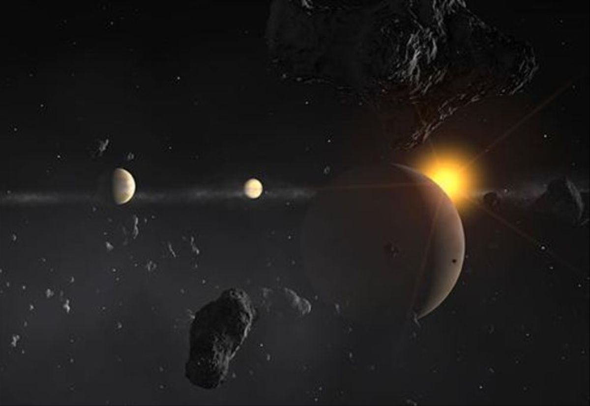 Representación artística de la estrella mu Arae, al fondo, con sus cuatro planetas.