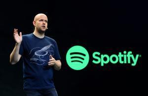 Daniel Ek, uno de los fundadores de Spotify, en una conferencia de prensa, en el 2015.