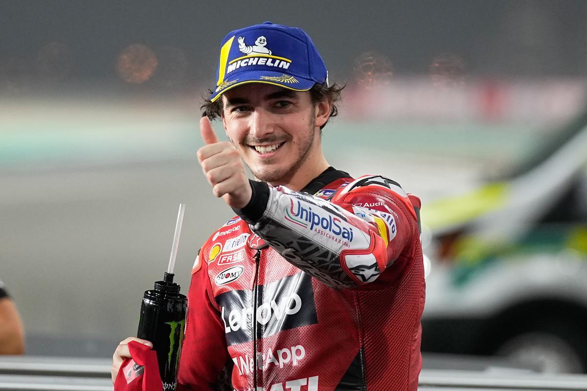 Francesco 'Pecco' Bagnaia (Ducati) ha celebrado, hoy, así su primera 'pole' en MotoGP.