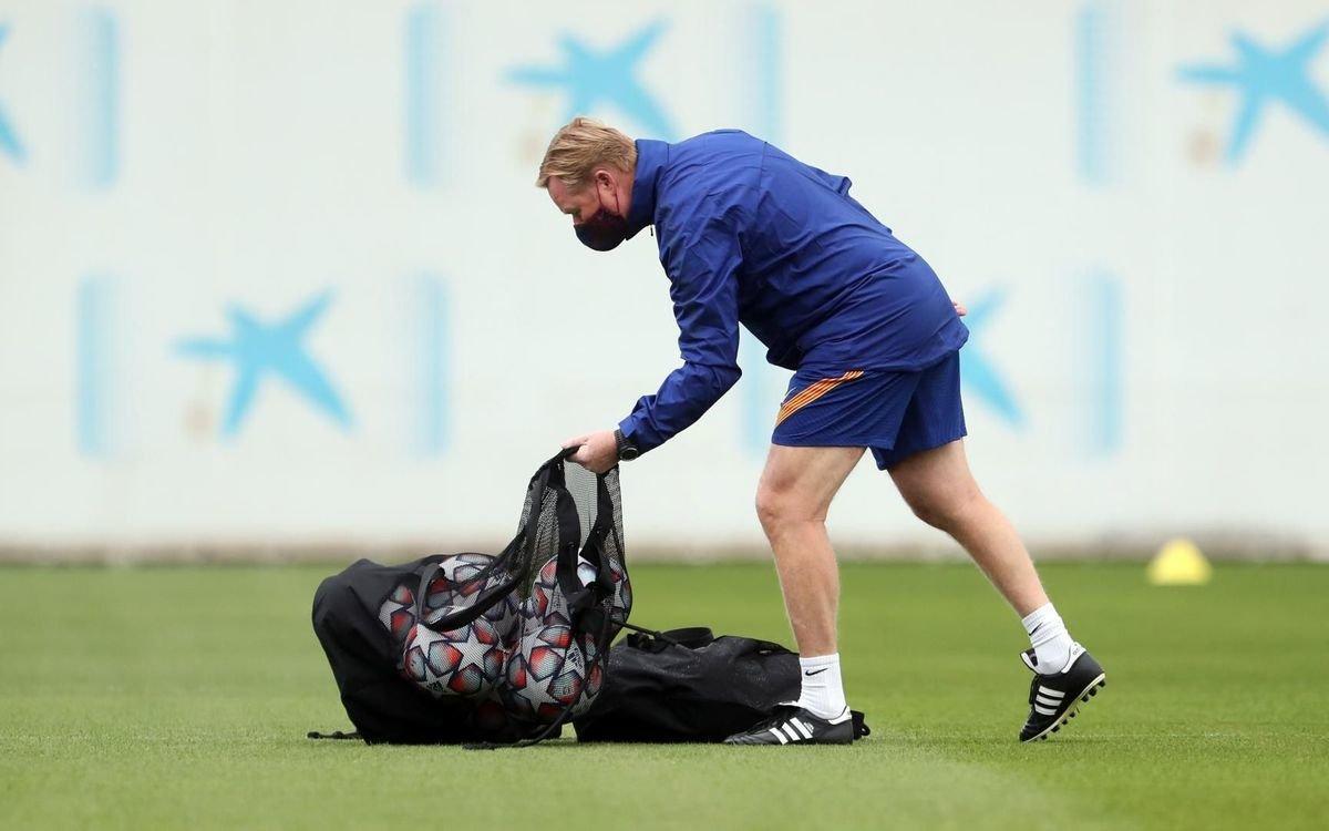 Ronald Koeman, en el último entrenamiento previo al debut europeo.