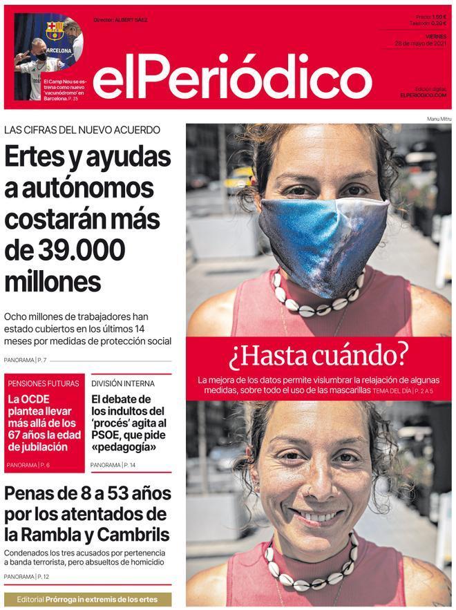 La portada d'EL PERIÓDICO del 28 de maig del 2021