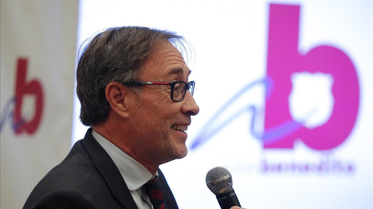 Agustí Benedito, durante la presentación de su precandidatura a la presidencia del FC Barcelona.