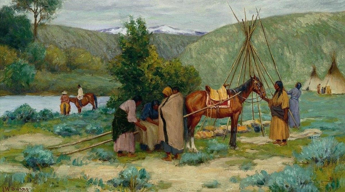 Óleo 'Montando el campamento, Littel Big Horn, Montana' (1895-1912), deJoseph Henry Sharp, que forma parte de la exposición 'La ilusión del Far West', que acoge el Espai Thyssen de Sant Feliu de Guíxols.