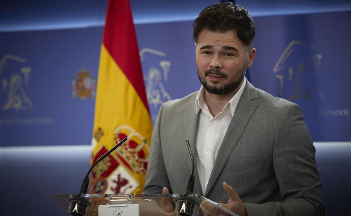 Gabriel Rufián, en rueda de prensa en el Congreso de los Diputados.