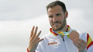 Saúl Craviotto, con la medalla de bronce en K1 que ganó en los Juegos de Río.