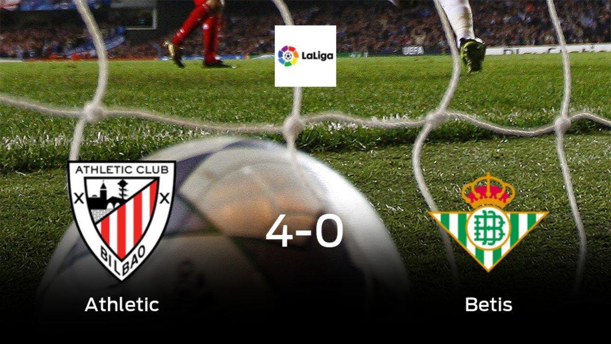 El Athleticsuma tres puntos tras golear al Real Betis en casa (4-0)