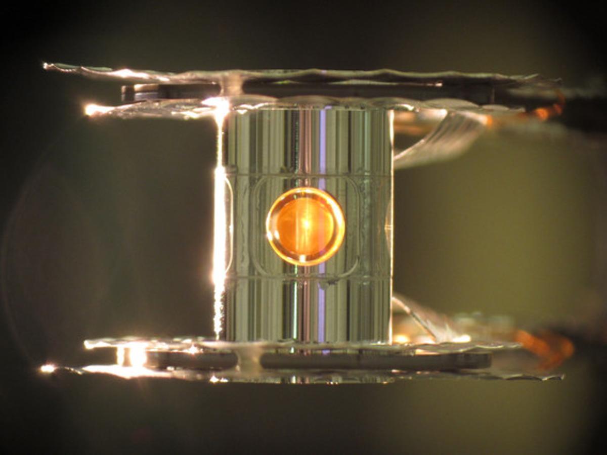 El cilindro en el que se esperimenta la fusión nuclear.