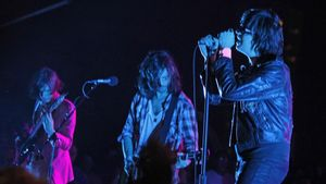 Julian Casablancas y su banda, The Strokes, en concierto.