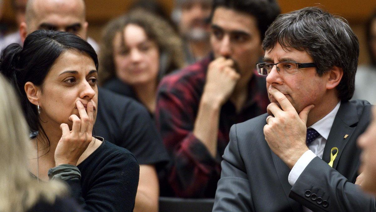 Carles Puigdemont y Anna Gabriel, asisten aun acto sobre Catalunya en la ONU.