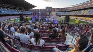 Concierto de Sopa de Cabra en el Camp Nou, dentro del festival Cruïlla XXS, el pasado sábado.