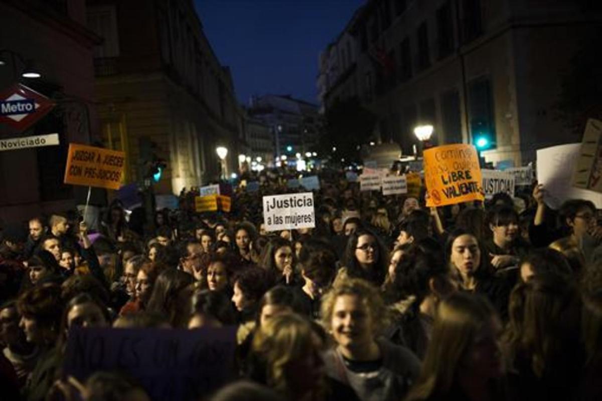 Marcha contra la violencia machista, en Madrid.