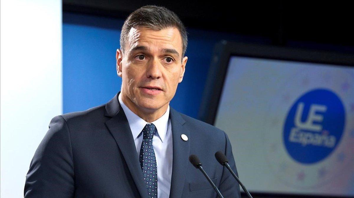 Pedro Sánchez, este viernes en Bruselas tras el Consejo Europeo.