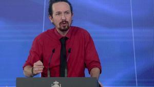 El vicepresidente segundo del Gobierno, Pablo Iglesias, durante la presentación del plan de recuperación, este 7 de octubre en la Moncloa.