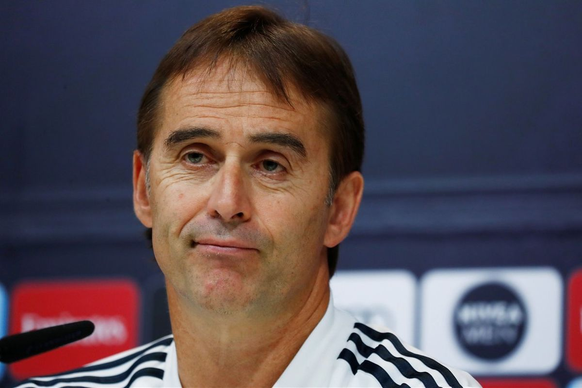 Julen Lopetegui, entrenador del Real Madrid, en rueda de prensa.