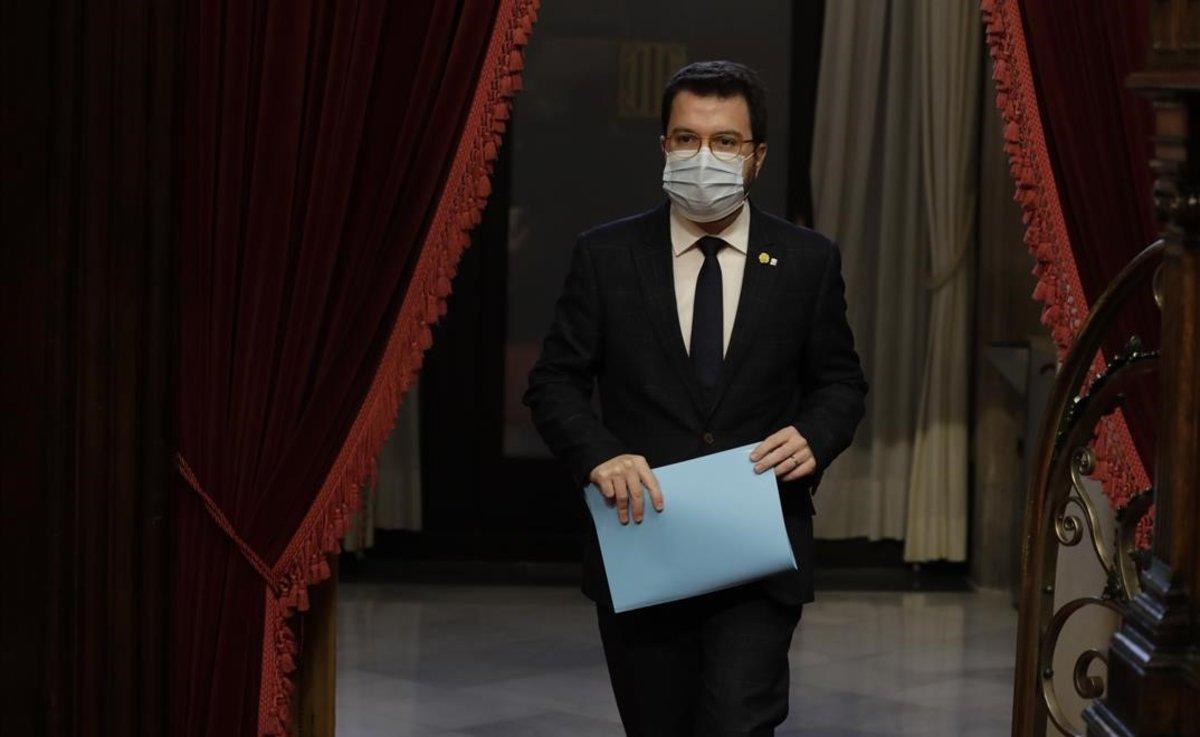 Pere Aragonès, este miércoles en el Parlament.
