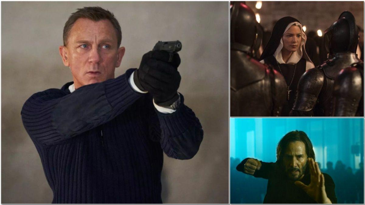 Fotogramas de 'Sin tiempo para morir', 'Benedetta' y 'Matrix 4: Resurrections'.