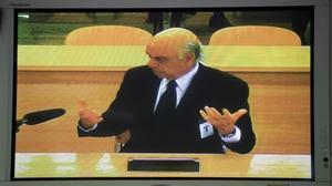 Fotografía del monitor de la Audiencia Nacional mientras declaraba el expresidente del BBVA, Francisco González, como testigo en el 'caso Bankia'.