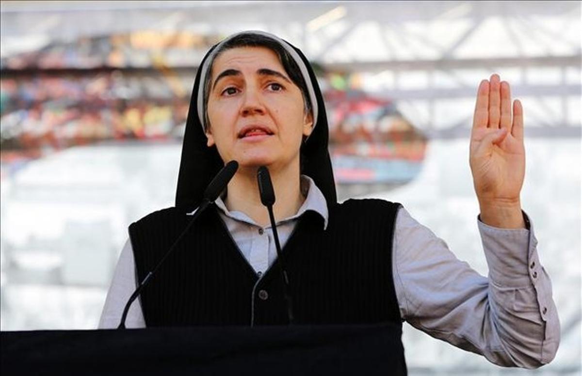 Teresa Forcades, en un acto de Procés Constituent, en Montjuïc.
