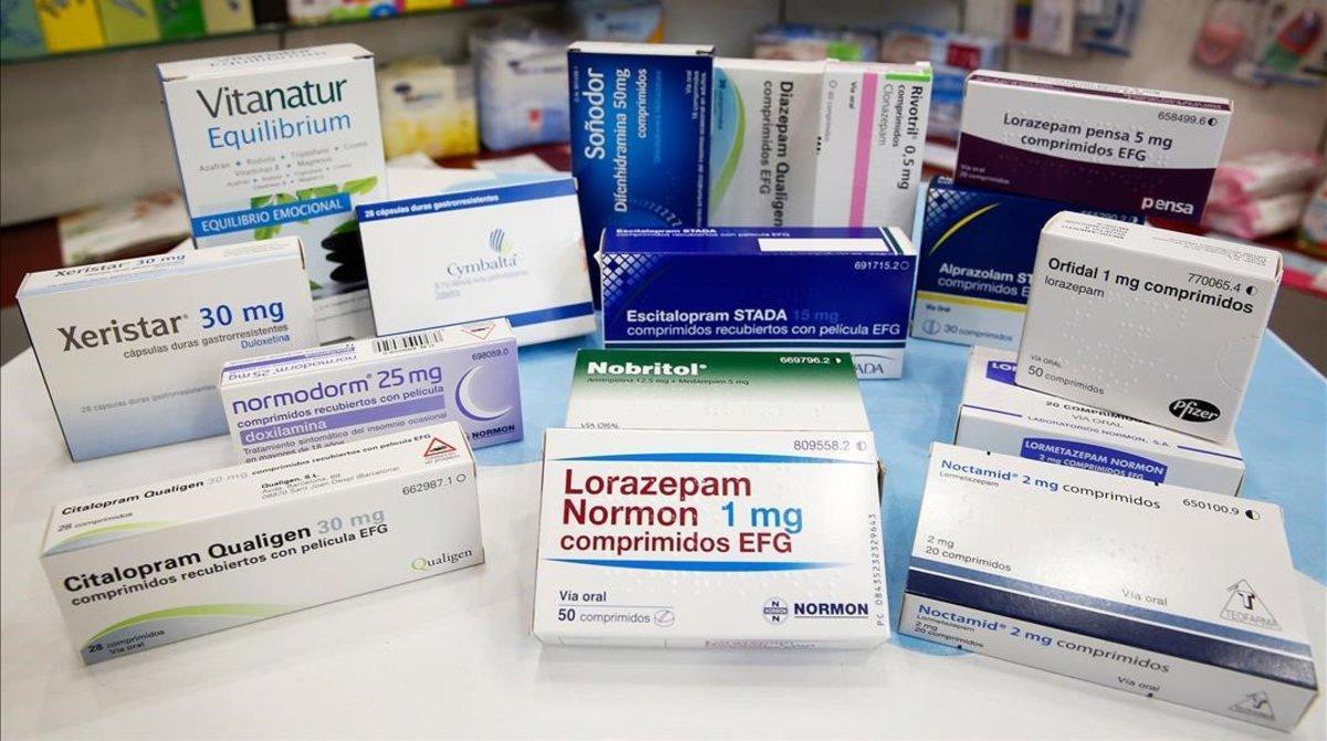Antidepresivos y somníferos frecuentes en las farmacias y los botiquines de los españoles.