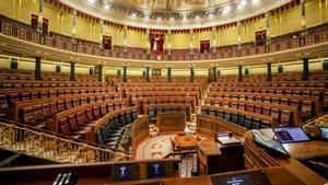 HemiciclovacíodelCongresode los Diputados tras la suspensión del pleno, el 10 de marzo del 2020, como medida preventiva de contención del coronavirus.