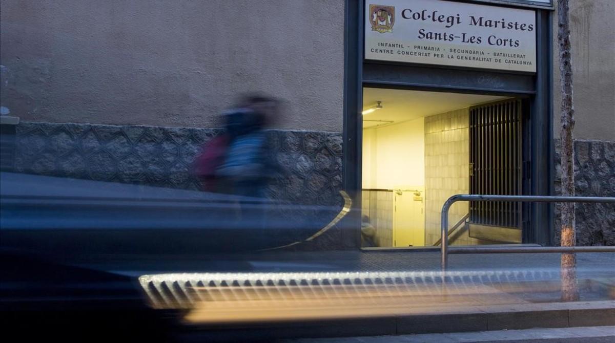 Fachada del colegio de los Maristas Sants-Les Corts, donde trabajaba como profesor el pederasta confeso Joaquim Benítez.