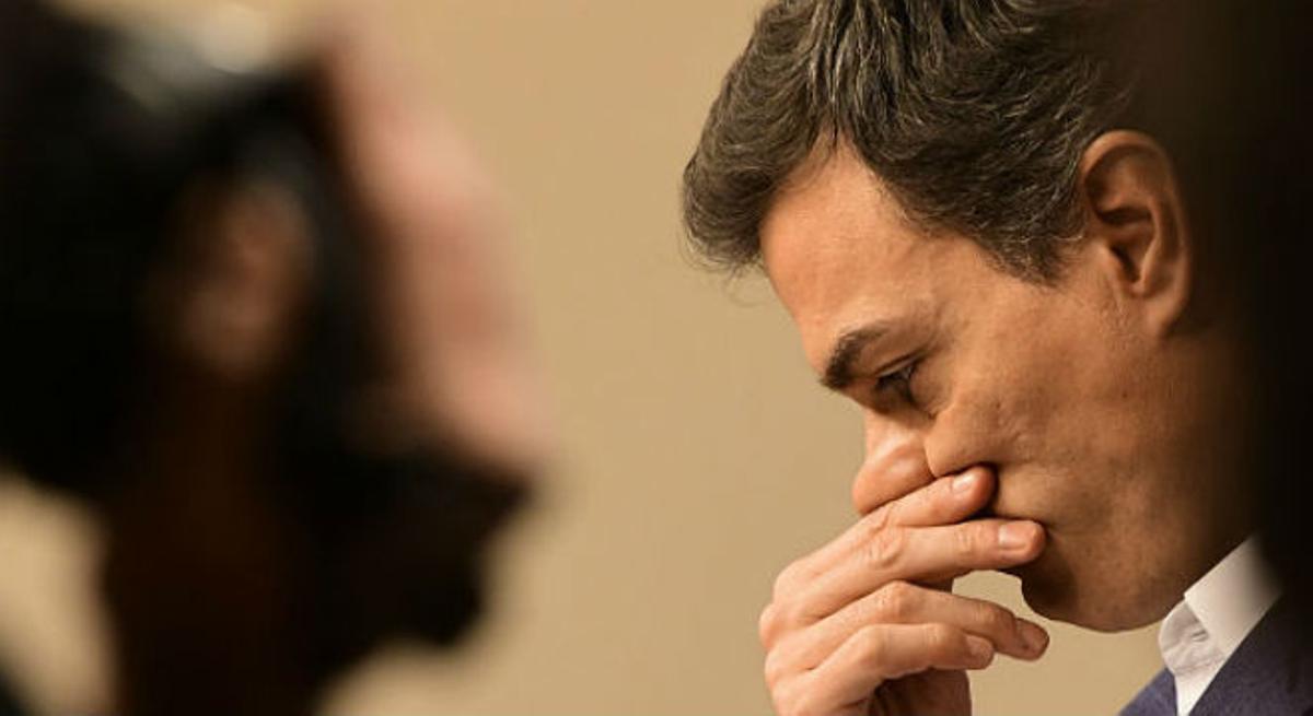 Pedro Sánchez se emociona al renunciar al acta de diputado.